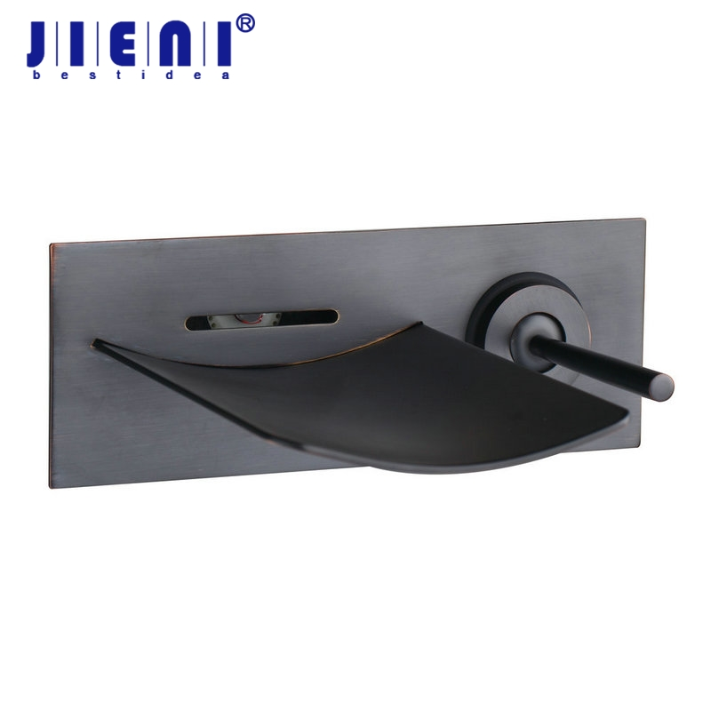 Wall Mounted Black Waterfall Basin Tap Oil Rubbed Bronze Bathroom Basin Faucet Mixer Hot and Cold Water Tap Mixers wall mounted oil rubbed black bronze bathroom faucet bathtub torneira basin sink faucet hot and cold mixers