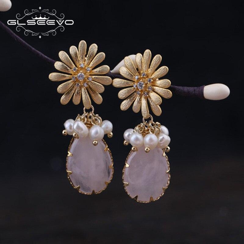 все цены на GLSEEVO Natural Pink Crystal Pearl Flower Drop Earrings For Women Wedding Dangle Earrings Handmade Fine Jewelry Brincos GE0307 онлайн