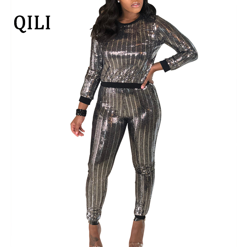 eb4688c0f561 Detail Feedback Questions about QILI Women Sequin Jumpsuits Autumn Long  Sleeve Two Piece Bodycon Jumpsuit Skinny Long Pants Jumpsuits High Street  Wear on ...