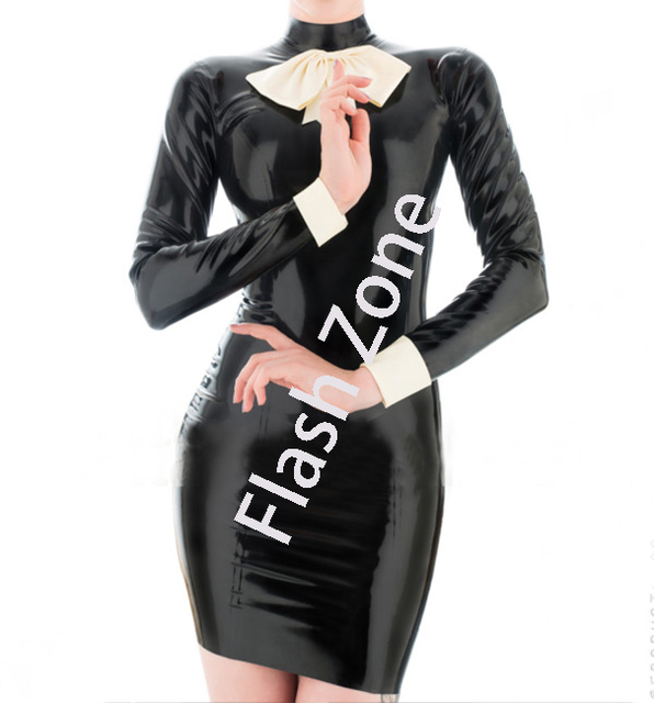 Women New Style Fashions Rubber Fetishes Latex Dress With Bowknot