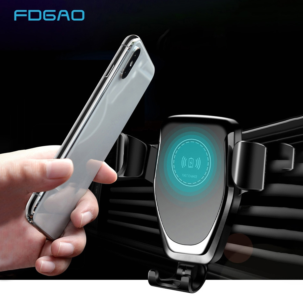 FDGAO Automatic Gravity Qi Wireless Car Charger Mount For IPhone 11 XS XR X 8 10W Fast Charging Phone Holder for Samsung S10 S9