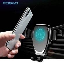 Fdgao 자동 중력 qi 무선 자동차 충전기 마운트 아이폰 11 xs xr x 8 10 w 빠른 충전 전화 홀더 삼성 s10 s9