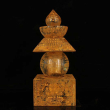 Exquisite Chinese old-style coloured glaze inlaid with inscription five elements Buddhist relic stupa
