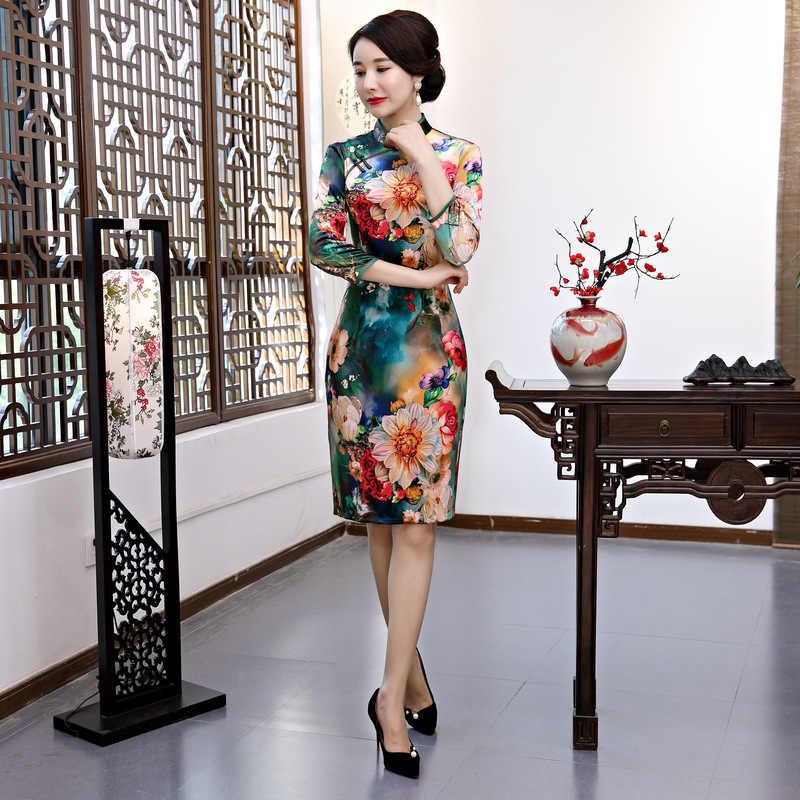 Фото Новое поступление китайское женское велюровое элегантное платье Ципао ручной