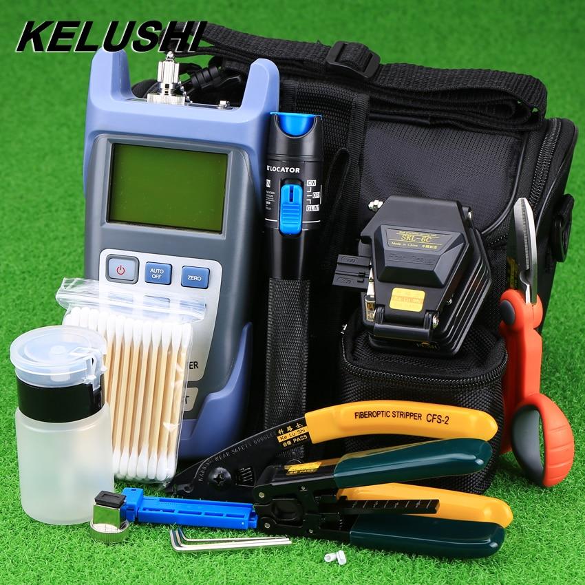 KELUSHI 18pcs/set FTTH Tool Kit With SKL-6C Fiber Cleaver Optical Power Meter 1mW Visual Fault Locator Fiber Optic Stripper