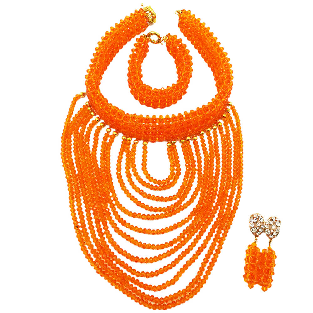 Wonderful Orange Bridal Beads Indian African Costume Jewelry Set Nigerian Wedding Necklace for Women WDK-017 inc new indian orange tie front women s small s button down knit top $59 199 page 5