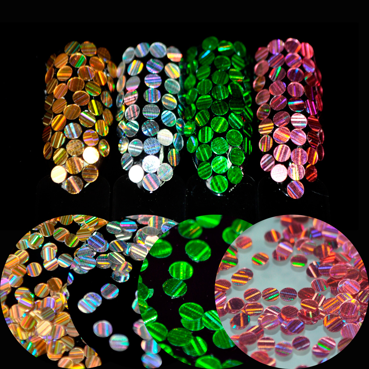 2.5mm Nail Round Sequins Laser Color Stripe DIY Nail Art Glitter Seqiuns Full Cover Nails Tips 1g / Bottle