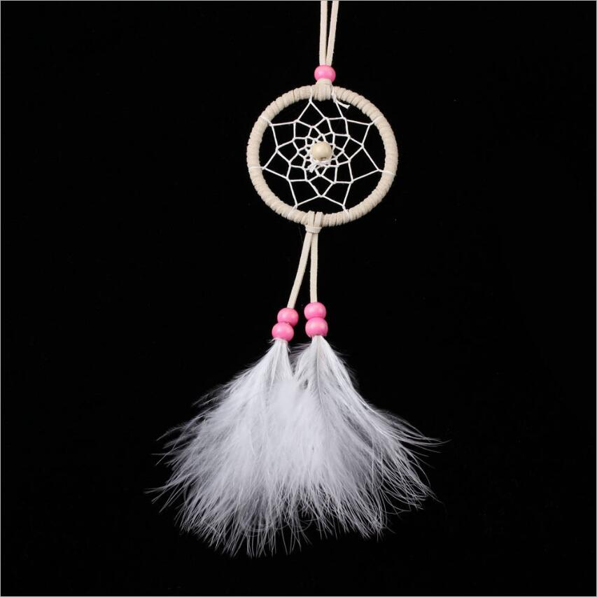 Pure White Feather Woven Dream Catcher Circular Net With: ᐂCreative Mini Hanging Pendant √ Car Car Hanging Decorate