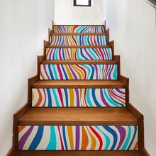 Abstract Colorful Stripes Stair Stickers Decals Kids Love Removable Waterproof Stairway Vinyl Stickers for Home Decor(China)