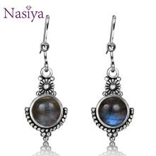 Nasiya New Punk Vintage Style Natural Labradorite Gemstone For Women Drop Earrings Silver Jewelry Wedding Gift Fine
