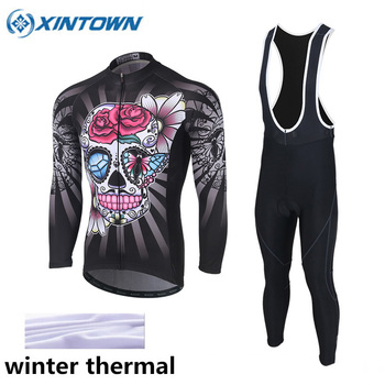 2018 Skeleton Winter Cycling Jersey Thermal Fleece Long Sleeve Jerseys Cycling Bib Pants Set Bike Bicycle Cycling Clothes