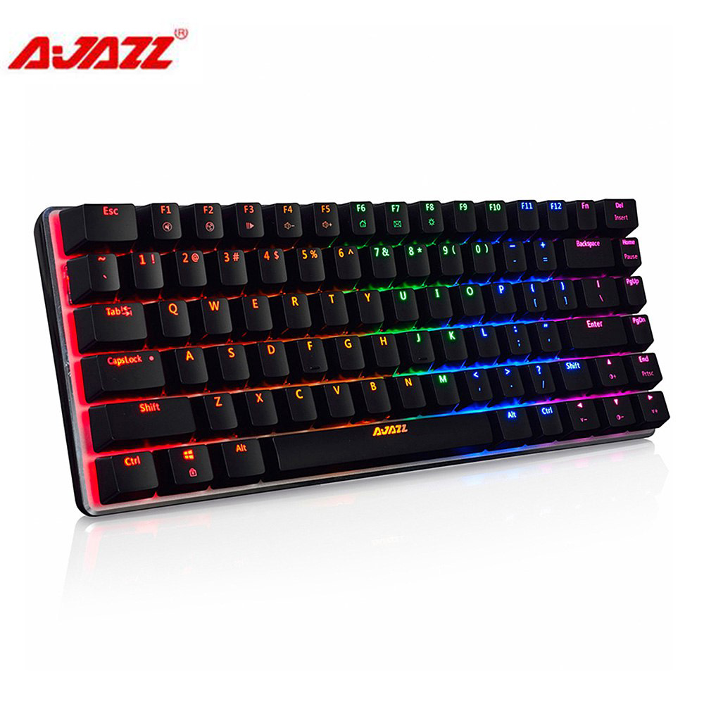 Ajazz AK33 82 tasten USB Verdrahtete Russisch/Englisch Tastatur RGB Hintergrundbeleuchtung Multimedia Ergonomische beleuchteten Gaming-tastatur Blau Schalter