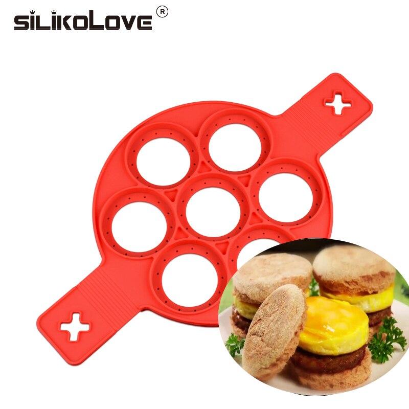 4-Pack Silicone Mold Breakfast Pancake Shaper Egg Ring Baking Mold Round Heart Shape Flower Square Flip Cooker Pancakes Mold