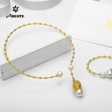 ANI 14K Roll Gold Handmade Women Torques Natural Freshwater White Pearl Necklace fine Engagement Jewelry Customized