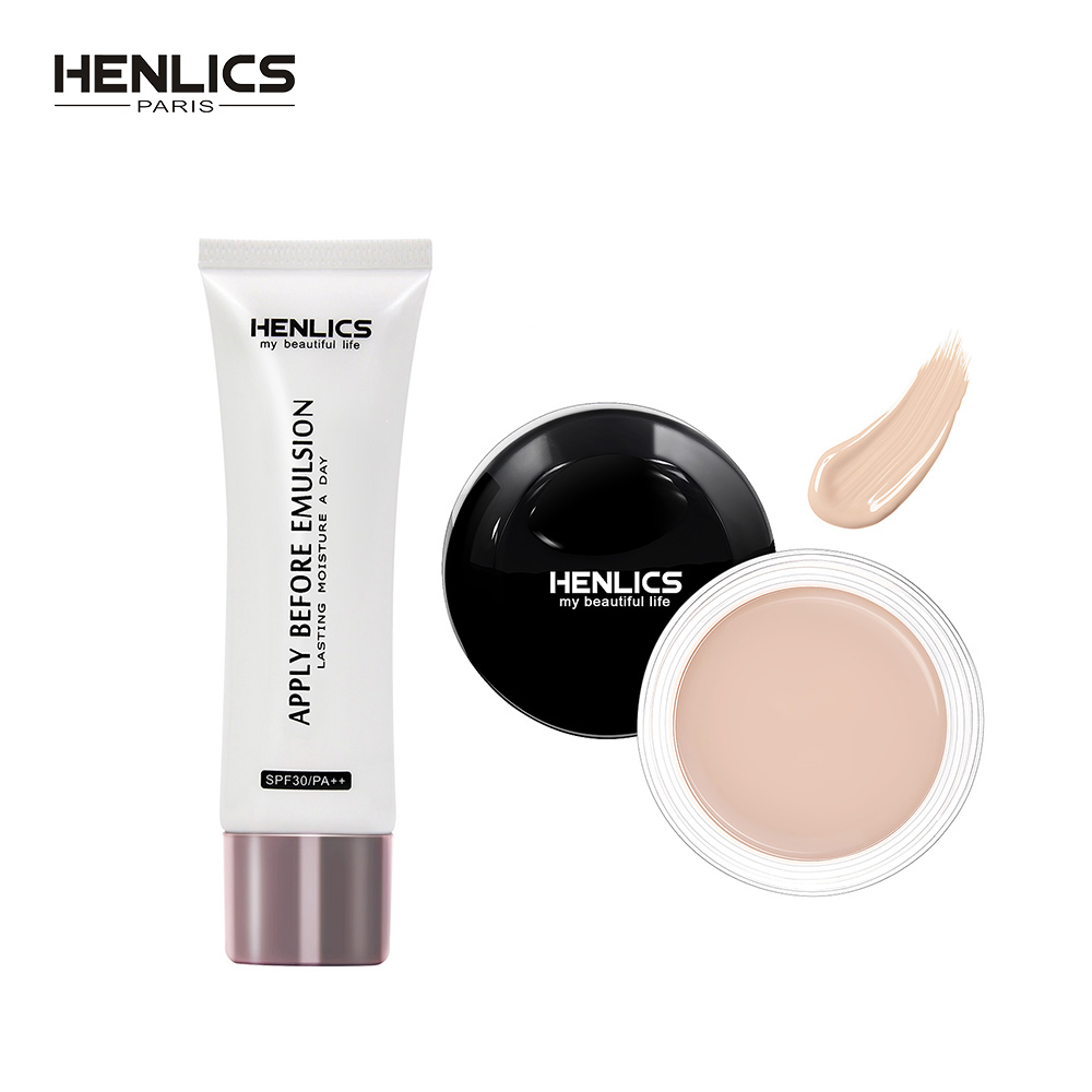 HENLICS Make Up Set 10g Face Concealer Perfect Cover Concealer Cream 3 Colors Oil Control Face Eyes Contouring+Face Primer