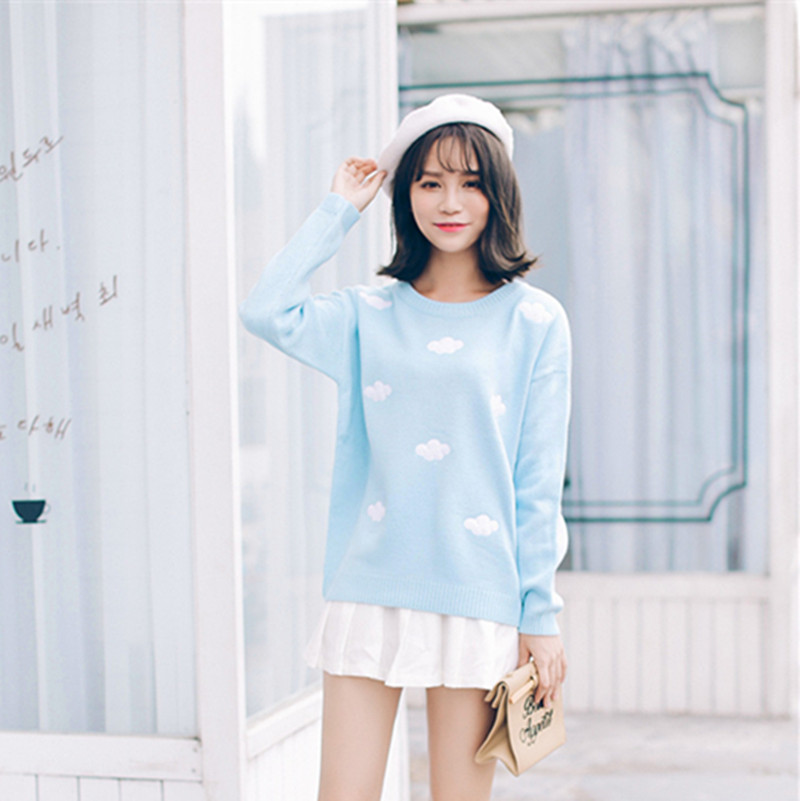Pop New Nice New Spring Autumn Winter Sweaters Cute Clouds Hedging Thick Round Neck Women Sweater A224