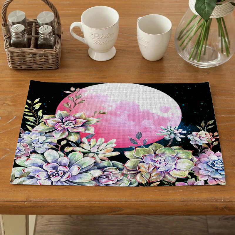 Table Mat Printed Fabric Blanching Heat Insulation Cup Dish Bowl Tableware Mat Placemats Kitchen Table Coaster Durable in Mats Pads from Home Garden