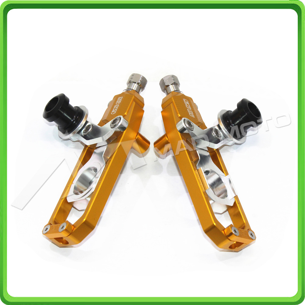 Motorcycle Chain Tensioner Adjuster with paddock bobbins fit for HONDA CBR 1000 RR CBR1000RR 2004 2005 2006 2007 Gold & SilverMotorcycle Chain Tensioner Adjuster with paddock bobbins fit for HONDA CBR 1000 RR CBR1000RR 2004 2005 2006 2007 Gold & Silver