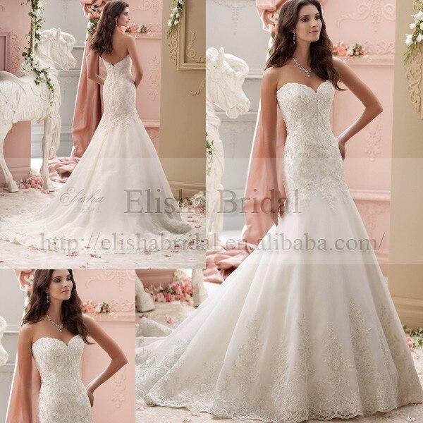 Online Shop Super Fashion Sweetheart Neckline Lace Appliqued Long Tail Wedding Mermaid Dresses