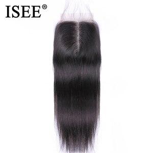 Image 1 - ISEE SAÇ malezya düz saç Kapatma Orta Kısmı Dantel Kapatma El Bağladılar Remy İnsan Saç Uzatma Ücretsiz Kargo Boyalı Olabilir