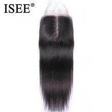 Isee extensão de cabelo, cabelo liso fechamento parte médio fechamento de renda mão amarrado remy humano frete grátis dyed