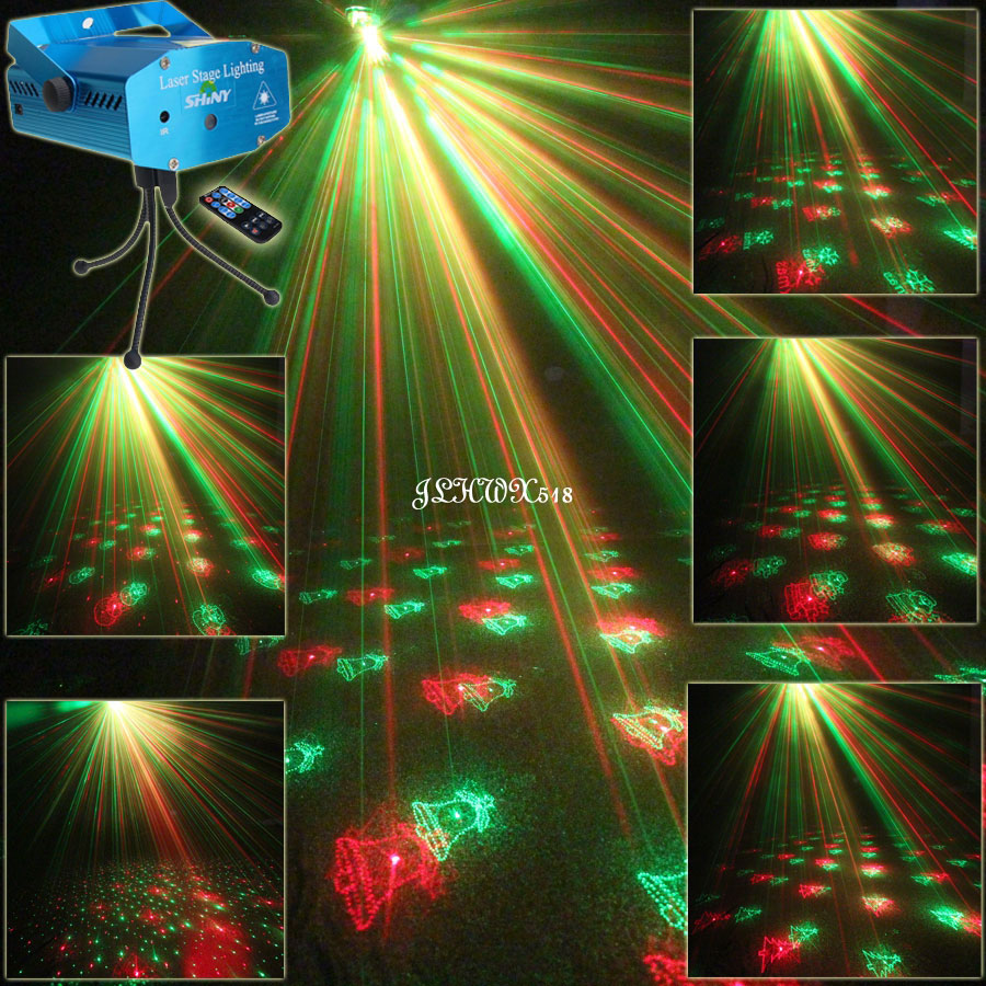 Remote Mini R&G Moving 6 Christmas Patterns Laser Projector Club Bar Coffee Dance Disco Party Xmas DJ Stage lighting Light N75R6