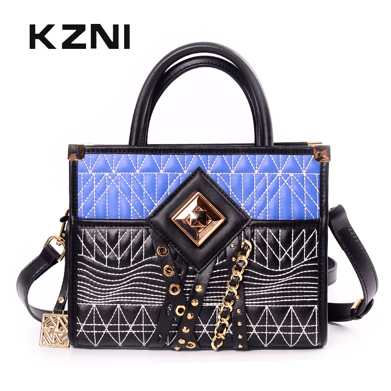 KZNI Real Leather Tote Bags Handbags Genuine Leather Rivet Crossbody Bag Designer Handbags High Quality Sac Femme Pochette 9057 kzni genuine leather purses and handbags bags for women 2017 phone bag day clutches high quality pochette bolsa feminina 9043