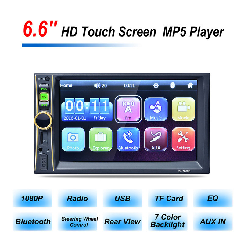 RK-7680 2DIN HD 6.6 Inch Car Player MP4 MP3 MP5 Bluetooth Hands-free Reversing Priority with Camera Car Stereo Audio MP5 Player rs 1010bt car bluetooth hands free stereo mp3 player