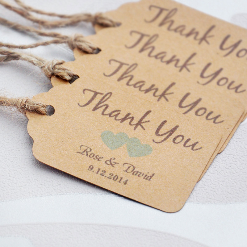 Personalized Thank You Wedding Tags With 6 Colors Heart