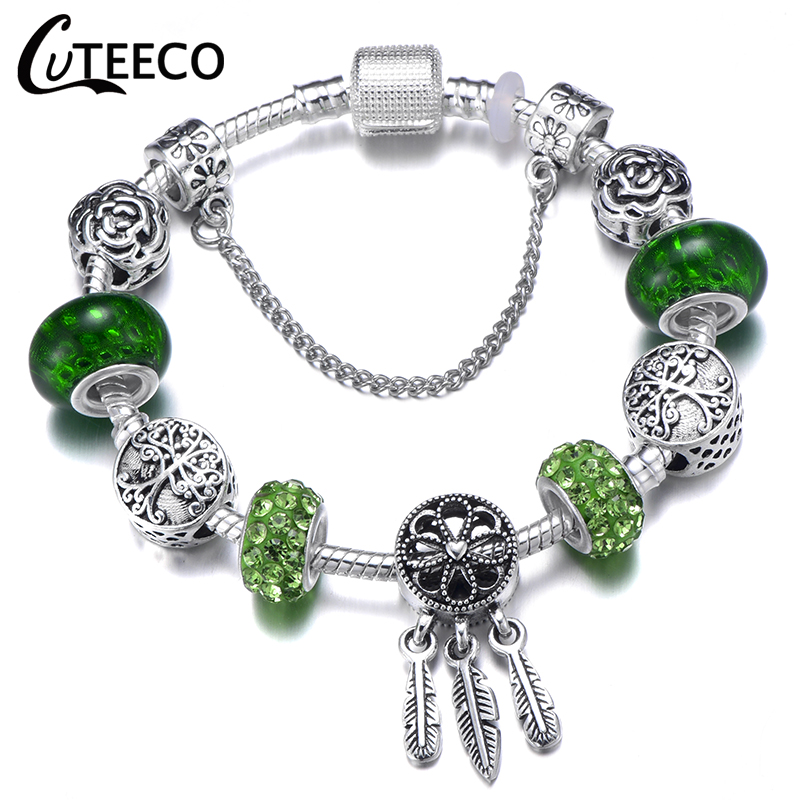 HTB1a4VFd.KF3KVjSZFEq6xExFXa6 - CUTEECO Antique Silver Color Bracelets & Bangles For Women Crystal Flower Fairy Bead Charm Bracelet Jewellery Pulseras Mujer