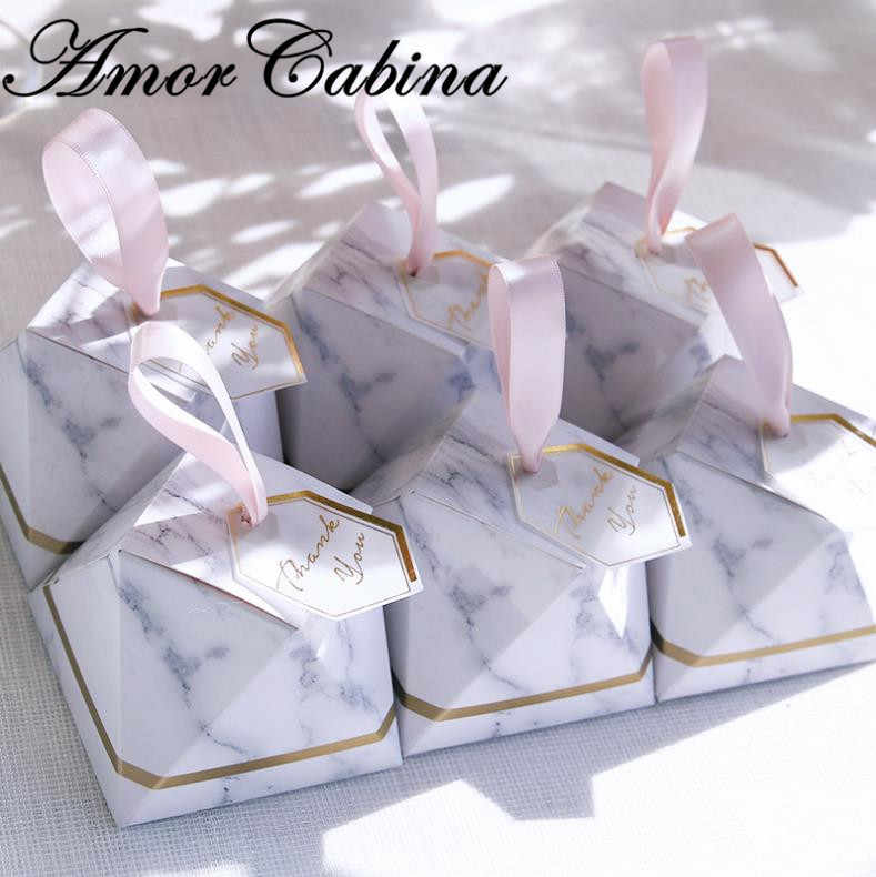 クリエイティブダイヤモンド大理石スタイルキャンディーボックス結婚式の好意やギフトパーティー Supplie ベビーシャワー紙ギフトゲストのための