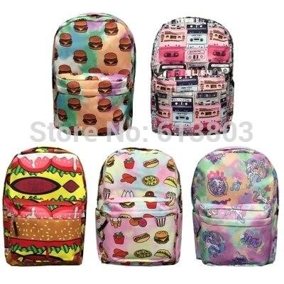 Harajuku Kawaii Anese Backpacks For Age S Unicorn Horse Food Printing Tie Dye Cute Canvas Bookbag