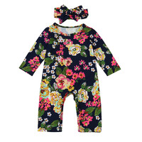 Newborn Infant Baby Boy Girl Floral Romper Jumpsuit+Headband Clothes Outfit Set Long Sleeve Baby Rompers Casual
