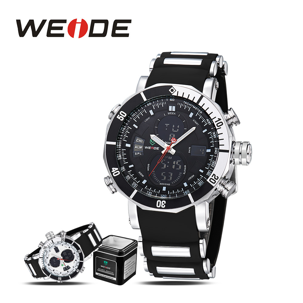 6377ad71b5ca Detalle Comentarios Preguntas sobre Weide LCD deportes resistente al agua  reloj digital electrónica relojes mismo viento automático relojes de los  hombres ...