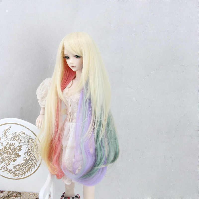 Bybrana BJD Pruik voor 1/3 1/4 1/6 Hoge Temperatuur Fiber Girl Gradient krullend haar voor Poppen