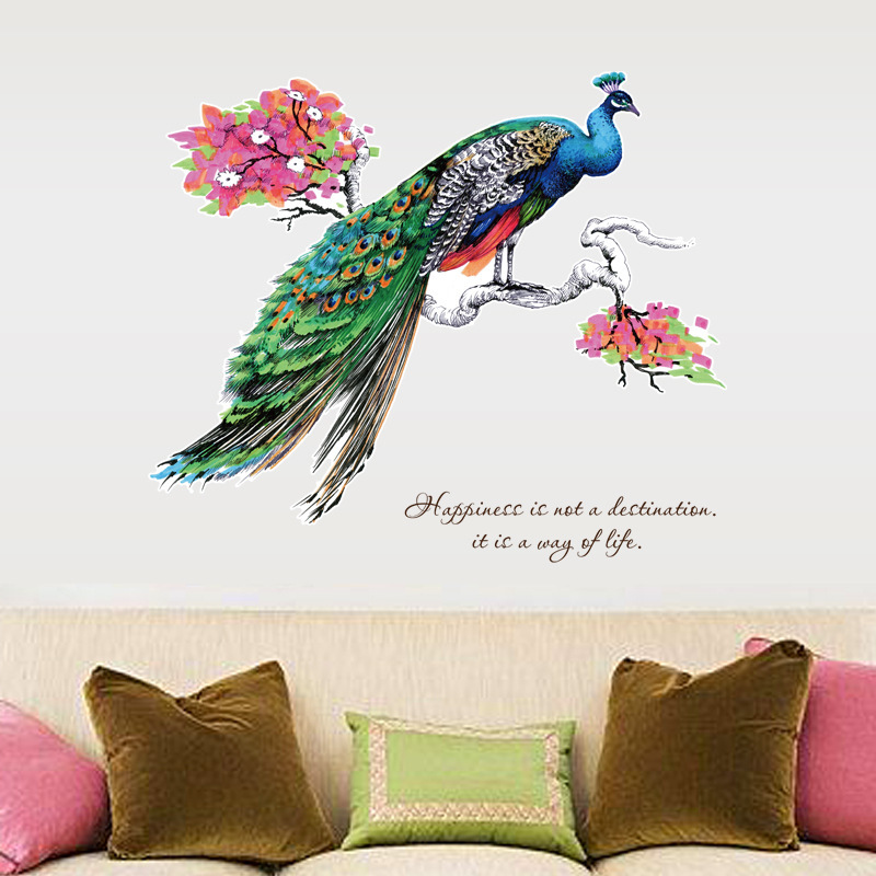 Pegatinas de pared coloridas de pavo real en una rama de árbol, decoración para sala de estar y dormitorio, pegatinas de arte para Mural de fondo, pegatinas extraíbles