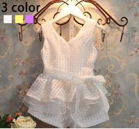 Ems dhl ücretsiz nakliye toptan yeni kız giyim yaz moda çocuk yelek set suit 2 ~ 7 yıl giyim 3 renkler
