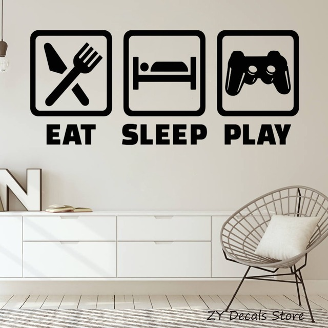 Gaming Lifestyle Vinyl Wall Sticker Quote Video Playroom Room Decor Stickers Eat Sleep Play