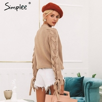 Simplee O neck knitted women sweater Lace up cute pullover and sweaters Winter 2018 female jumper elegant lady christmas sweater
