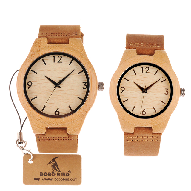 BOBO BIRD Typical Materials Lovers's Bamboo Watches with Brown Leather Band Can