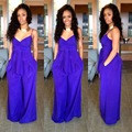 Purple solid spaghetti strap V-neck backless women sleeveless XXL loose full length vest beach charming stylish jumpsuits