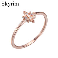 Skyrim Popular High Quality Women Cocktail Star Engagement Ring With Five Crystal AAA Cubic Zirconia Wedding