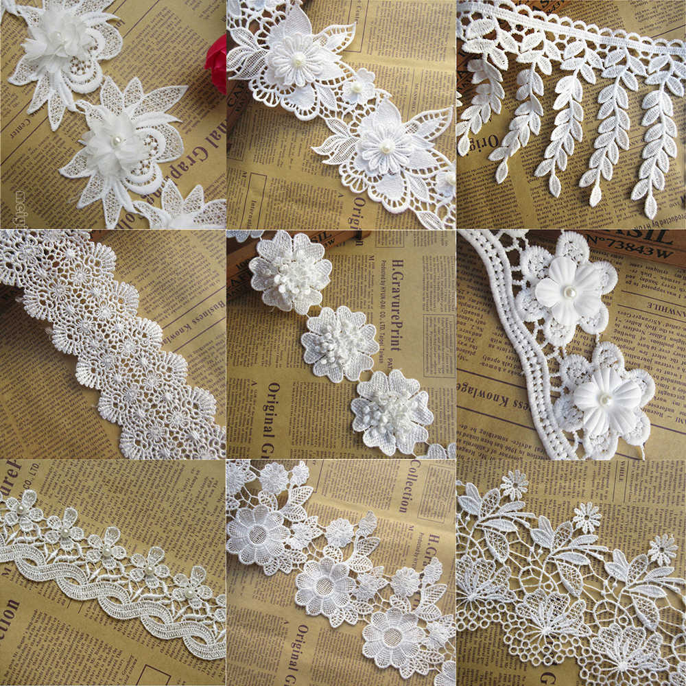 34849599bffd1 2Meter 45 115mm White Flower Lace Ribbon Border Edge Trim Fabric ...