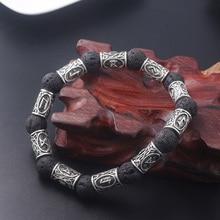 SG Vantage Lava Stone Hammer Mjolnir Bracelets Norse Viking Black Panther Runes Beads Amulet Bangles For Men Women Jewelry Gift