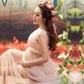 Женщины Розовый Юбка Материнства Фотографии Реквизит Элегантный Dresse Для беременных Беременность Одежды Материнства Фотосессии Вуаль Одежда