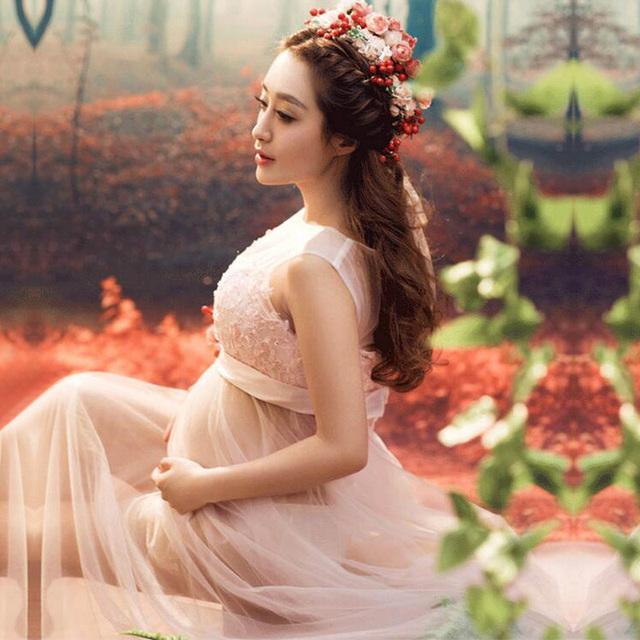 As mulheres Saia Rosa Maternidade Fotografia Adereços Sessão de Fotos Voile Elegante Dresse Gravidez Roupa de Maternidade Para grávidas Roupas