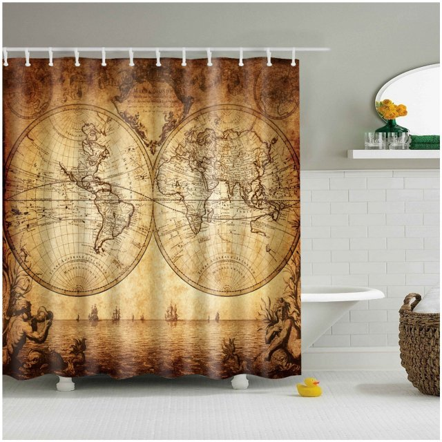 Charmhome vintage world map design art painting bathroom shower charmhome vintage world map design art painting bathroom shower curtain polyester fabric waterproof bathroom decor shower gumiabroncs Image collections