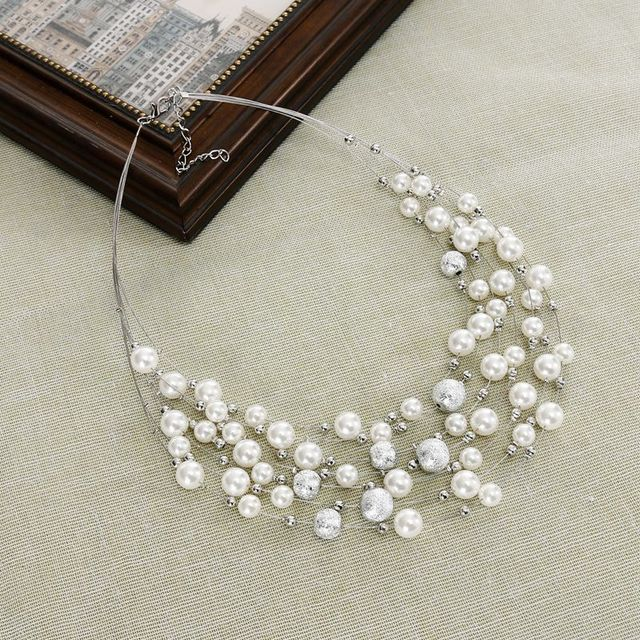 Chunky Multi Strand Pearl Necklace  Necklace for Wife