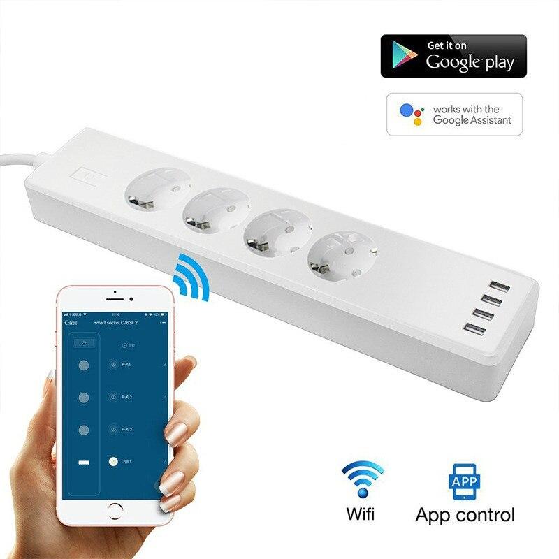 With USB four-hole EU intelligent voice control socket wifi control timer switch Smart home wireless socket цена