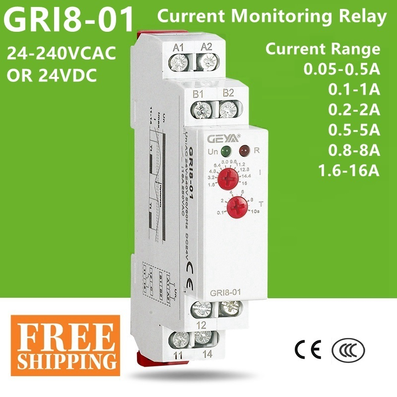 Current Monitoring Relay GRI8-01 Current Range 0.5A 1A 2A 5A 8A 16A AC24V-240V DC24V Overcurrent Protection RelayCurrent Monitoring Relay GRI8-01 Current Range 0.5A 1A 2A 5A 8A 16A AC24V-240V DC24V Overcurrent Protection Relay